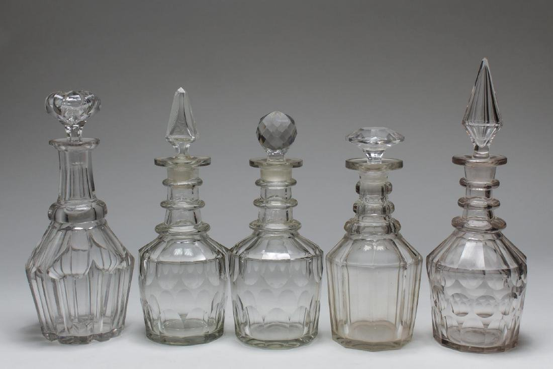Vintage Lead Crystal Decanters, 5 Pcs