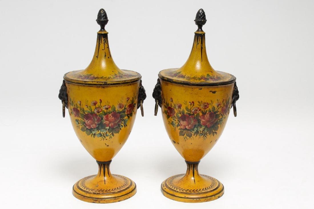 Regency Toleware Chestnut Urns, Pair, Antique