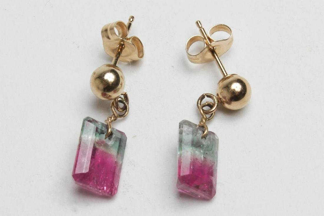 Watermelon Tourmaline Earrings, 14K Gold Settings