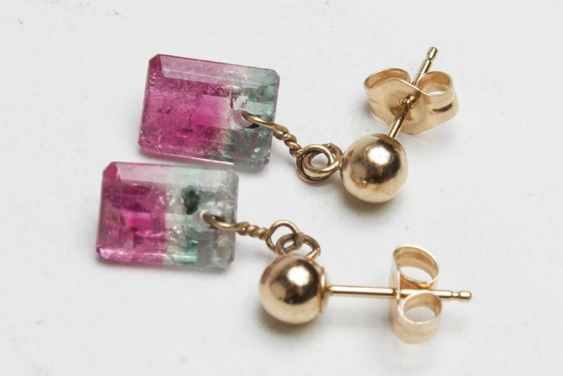 Watermelon Tourmaline Earrings, 14K Gold Settings - 2