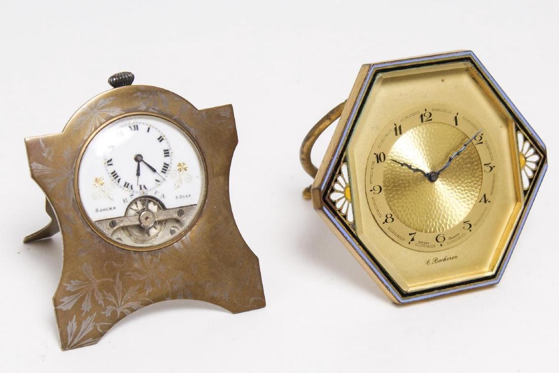 Art Nouveau Clocks, Bucherer & Ancre, Swiss, 2