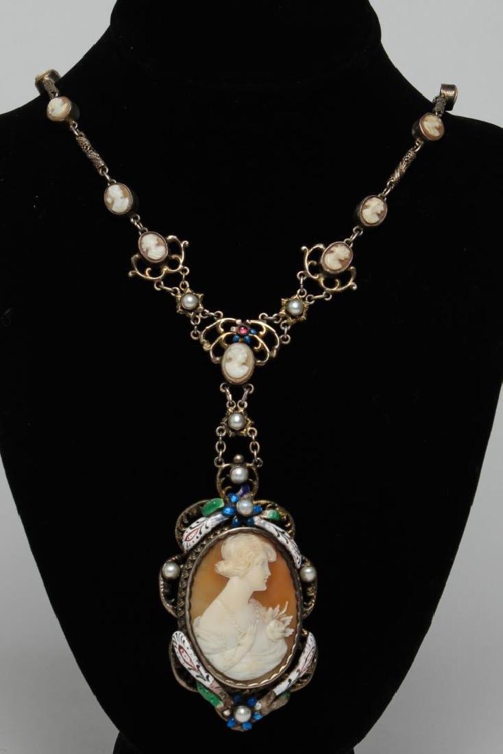 Multi-Cameo Necklace, Vintage in Silver & Enamel