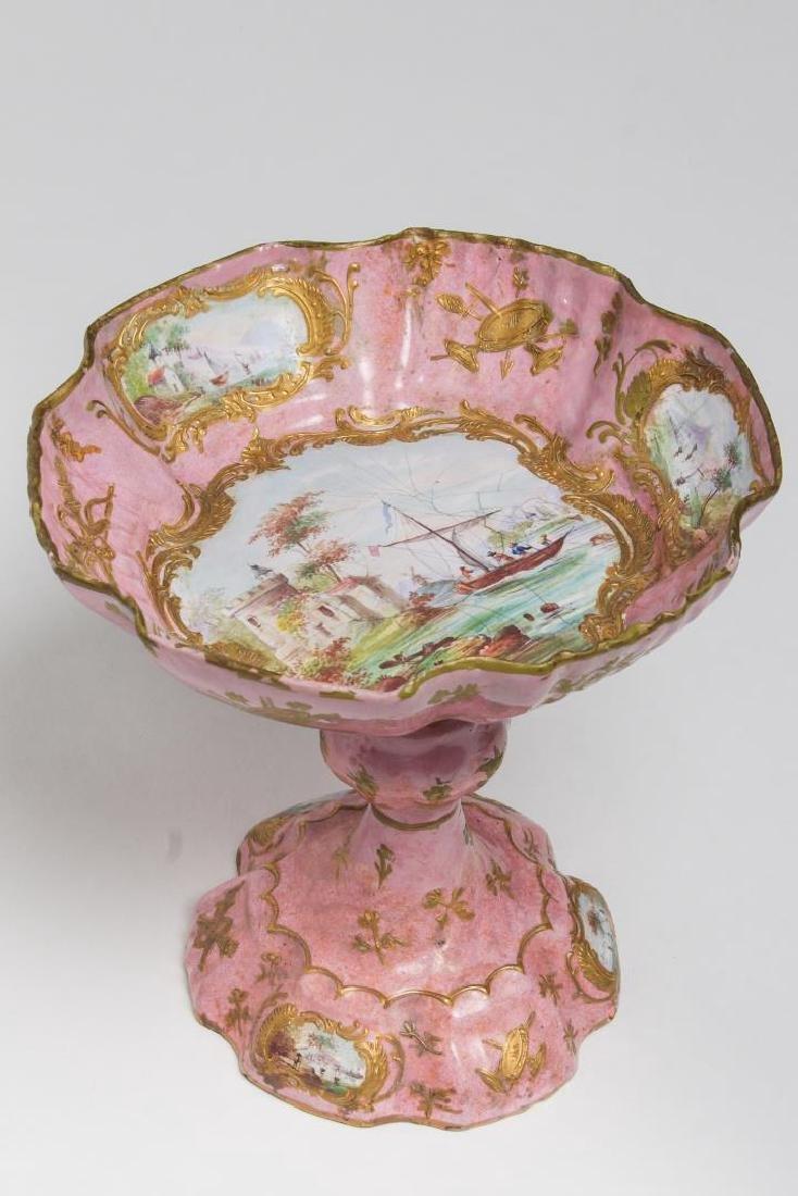 Continental Enamel Tazza, Antique, Rococo Manner