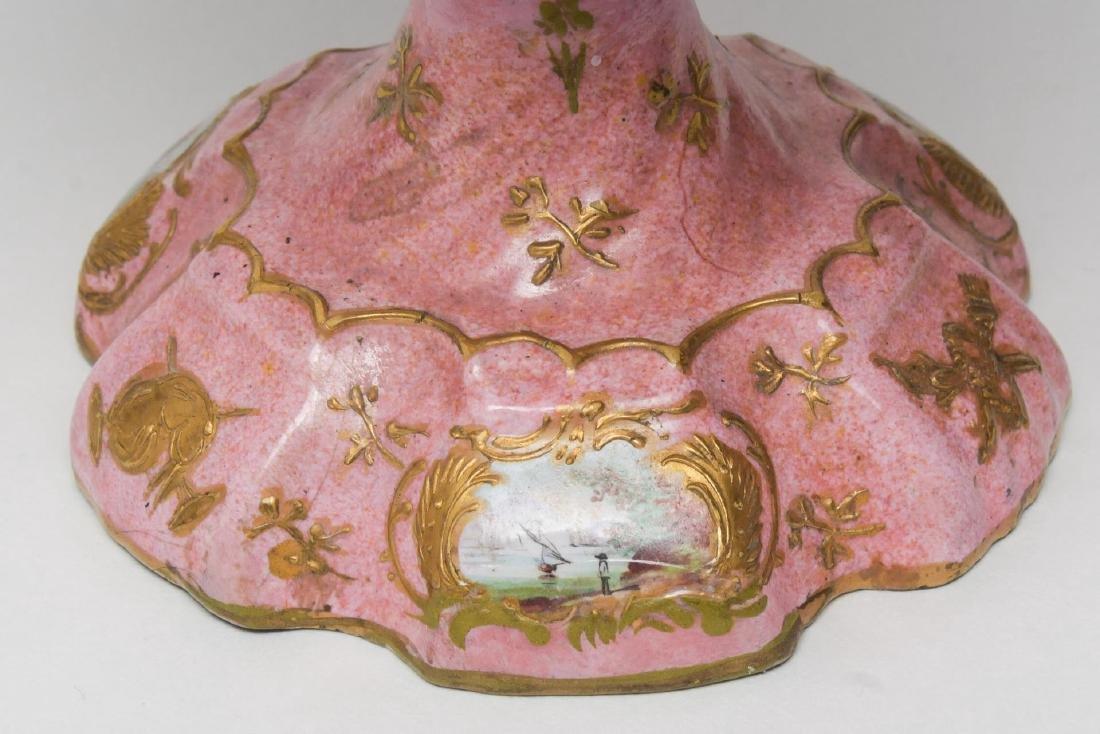 Continental Enamel Tazza, Antique, Rococo Manner - 3
