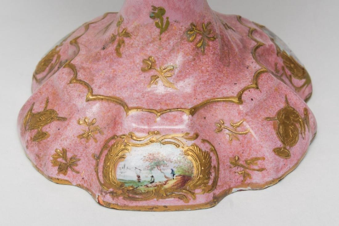 Continental Enamel Tazza, Antique, Rococo Manner - 5