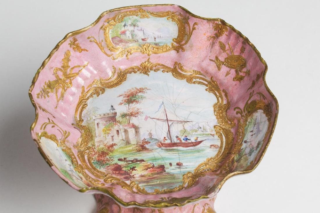 Continental Enamel Tazza, Antique, Rococo Manner - 6