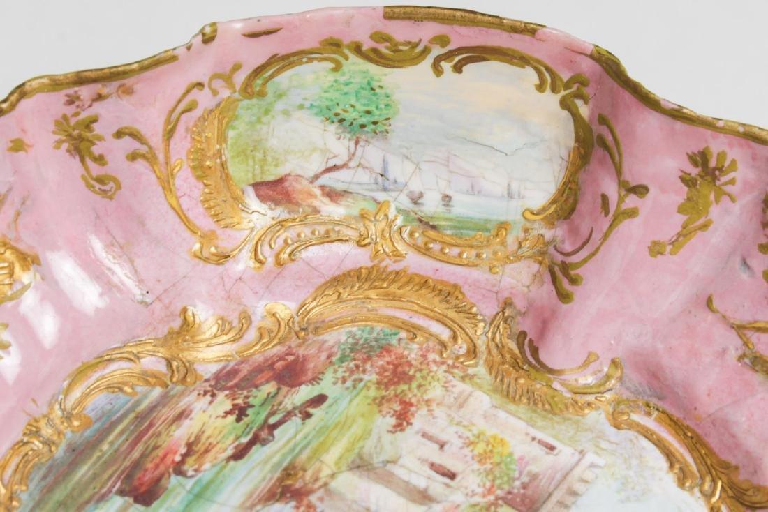 Continental Enamel Tazza, Antique, Rococo Manner - 7