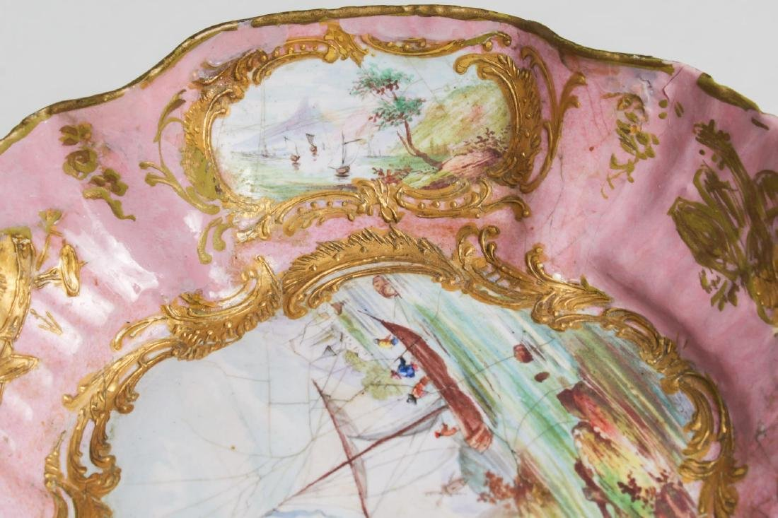 Continental Enamel Tazza, Antique, Rococo Manner - 8