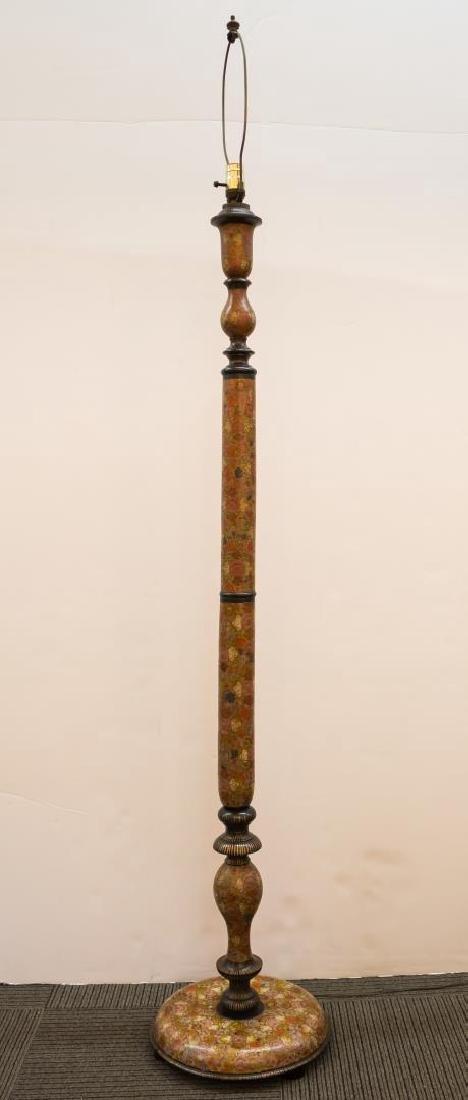 Art Nouveau Painted Wood Standing Lamp, Japonisme