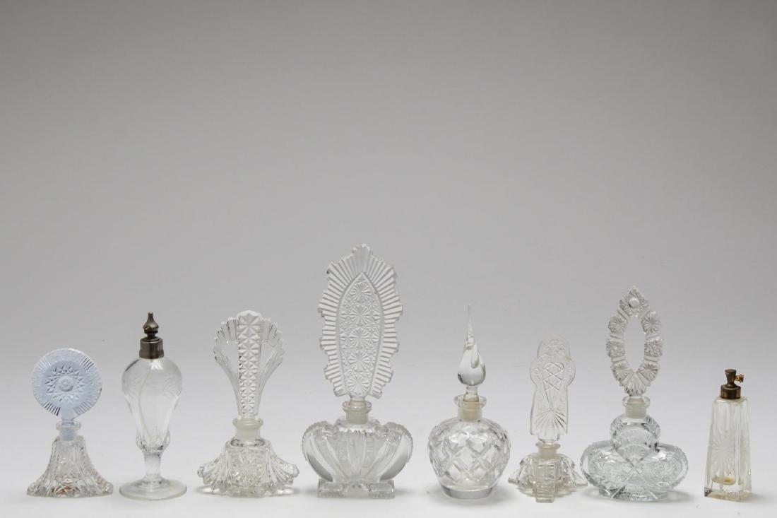 Cut Crystal & Glass Perfume Flasks, 8 inc. Bohemia