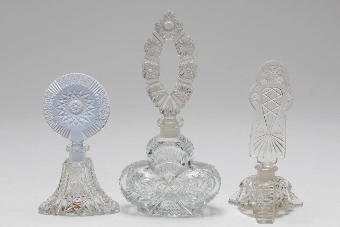 Cut Crystal & Glass Perfume Flasks, 8 inc. Bohemia - 3