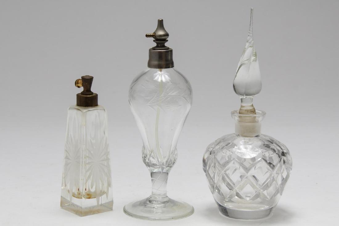 Cut Crystal & Glass Perfume Flasks, 8 inc. Bohemia - 4