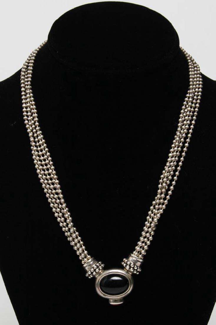 Joseph Esposito Silver, Onyx, & Amber Necklace