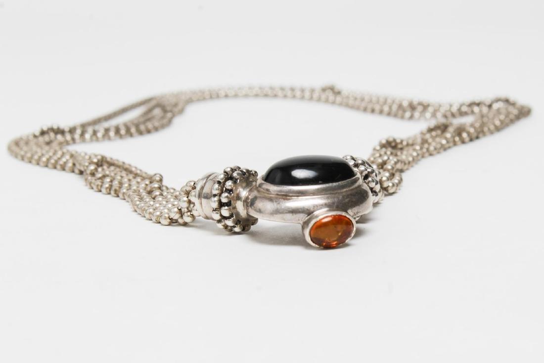 Joseph Esposito Silver, Onyx, & Amber Necklace - 4