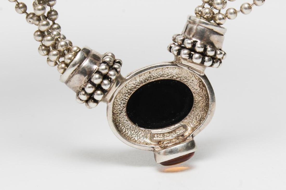 Joseph Esposito Silver, Onyx, & Amber Necklace - 5