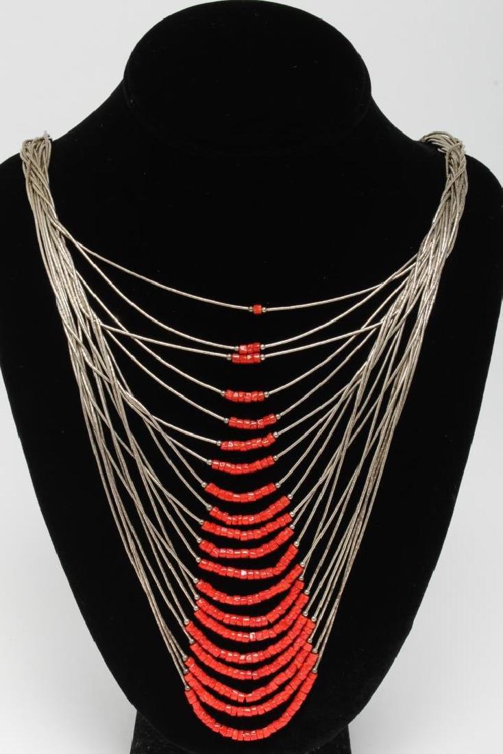 Navajo American Indian Liquid Silver Necklace