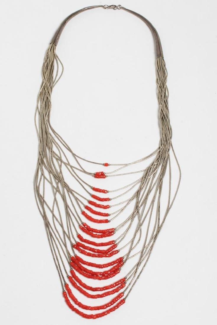 Navajo American Indian Liquid Silver Necklace - 2