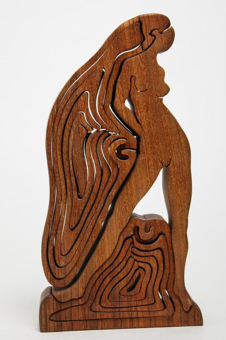 Carved Wood Puzzle Sculpture, 1970s Nude Woman