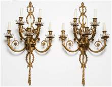 Neoclassical Candle Sconces Gilt Metal 5Light Pr