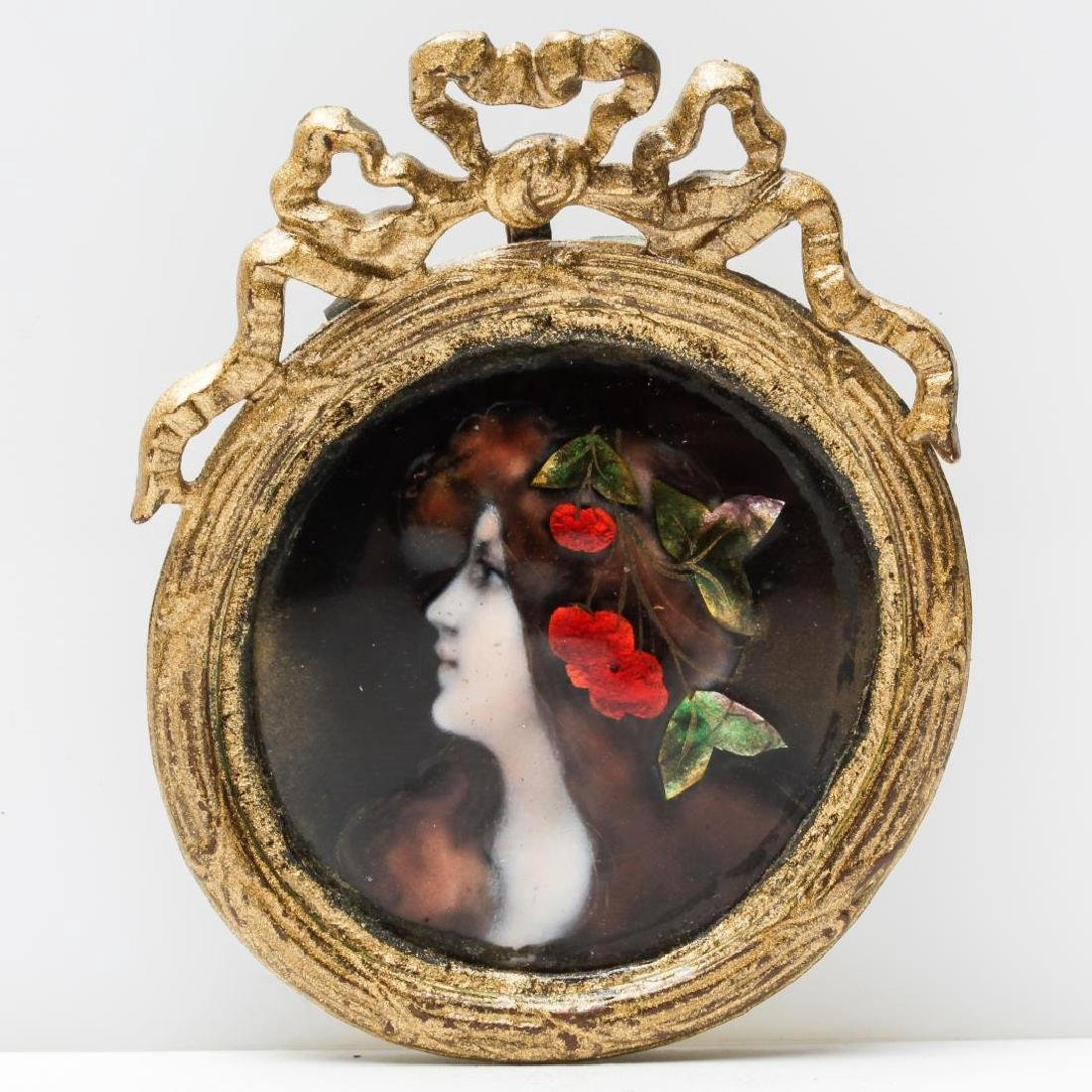 Antique Enamel Portrait Pendant, Likely Edwardian
