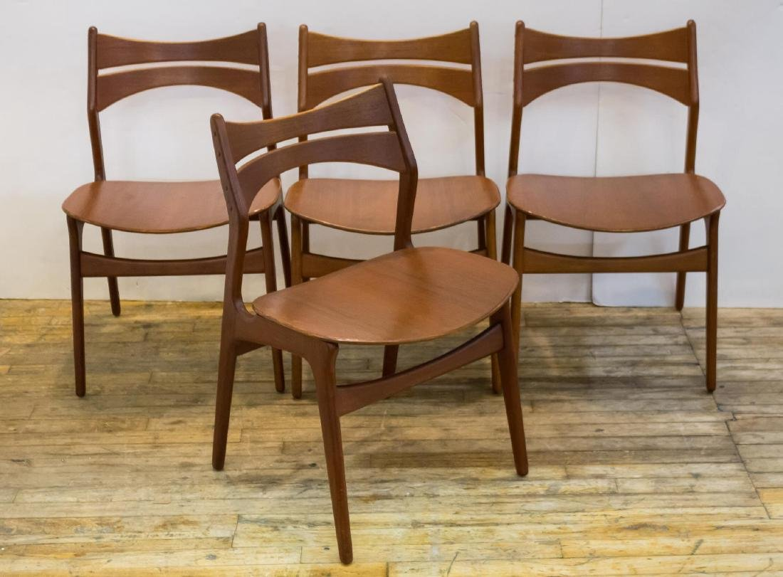 Erik Buck Danish Modern Side Chairs, Set of 4
