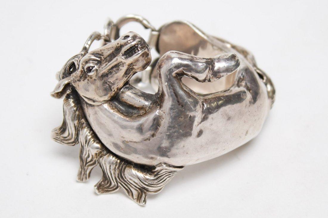 Taxco Mexican Silver Horse Bracelet, Ignacio Gomez - 3