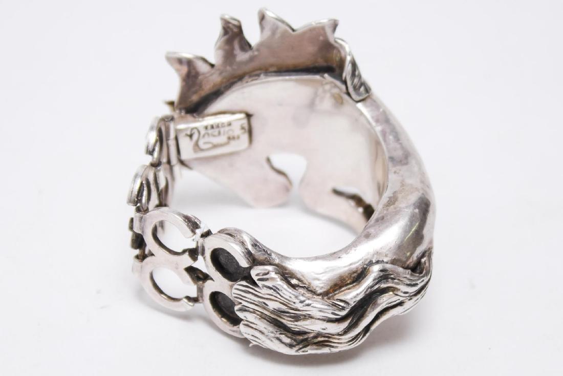 Taxco Mexican Silver Horse Bracelet, Ignacio Gomez - 4