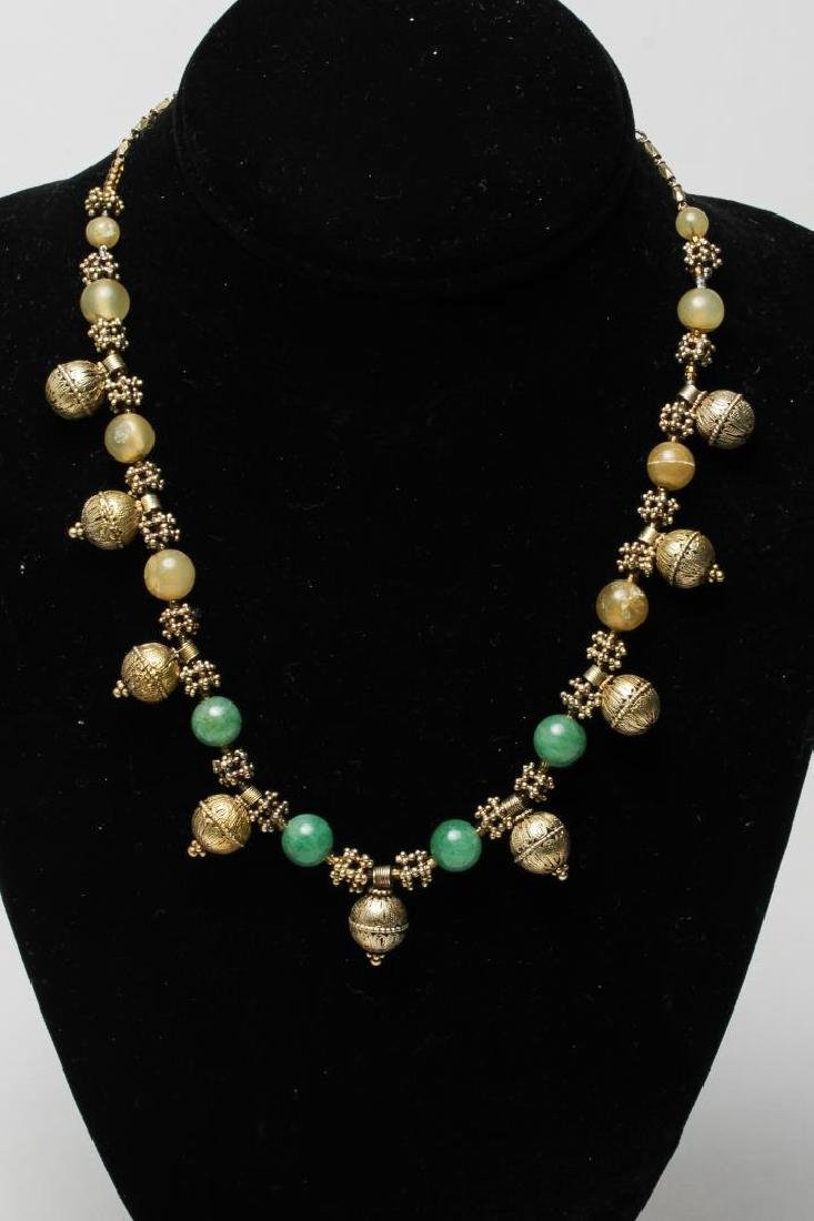 Middle Eastern Silver & Jade Necklace, Tribal