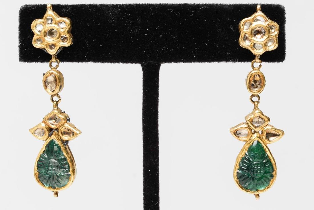Indian Diamond Earrings, in 14K Gold