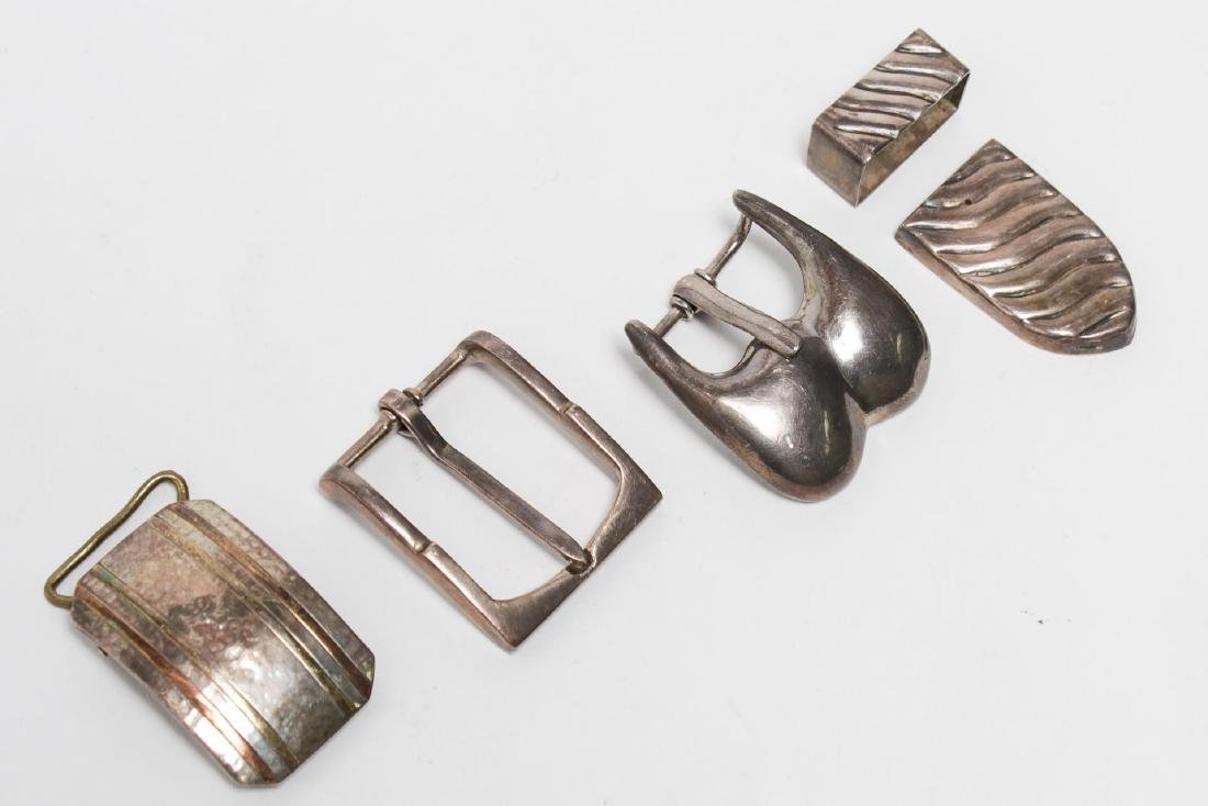 Sterling Silver Buckles, 4 inc. Mexican Modernist