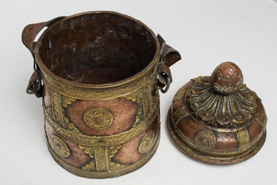 Middle Eastern Islamic Bedouin Copper & Brass Pail - 4