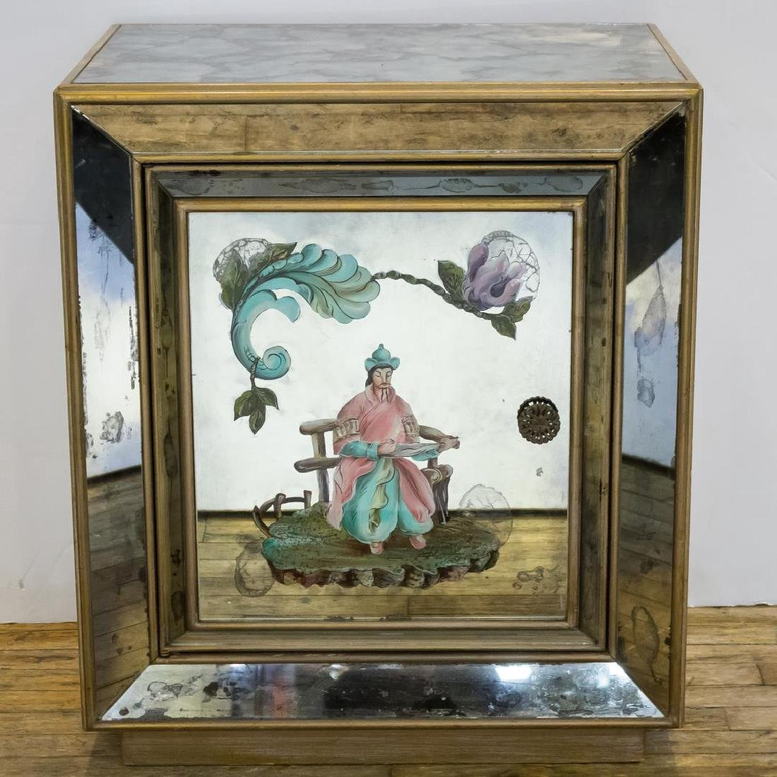 Hollywood Regency Chinoiserie Mirrored Cabinet