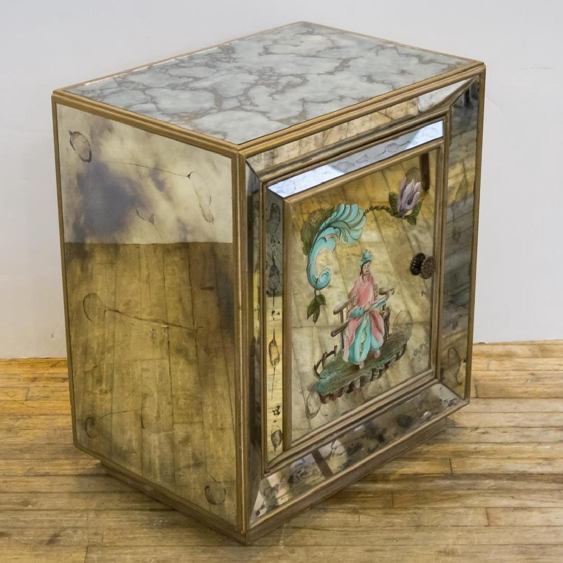 Hollywood Regency Chinoiserie Mirrored Cabinet - 3