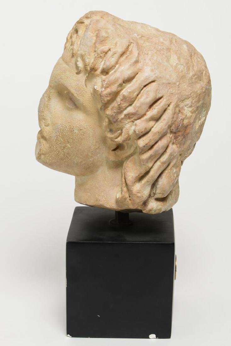 Hellenistic-Manner Cast Stone Bust, Head of Youth - 4