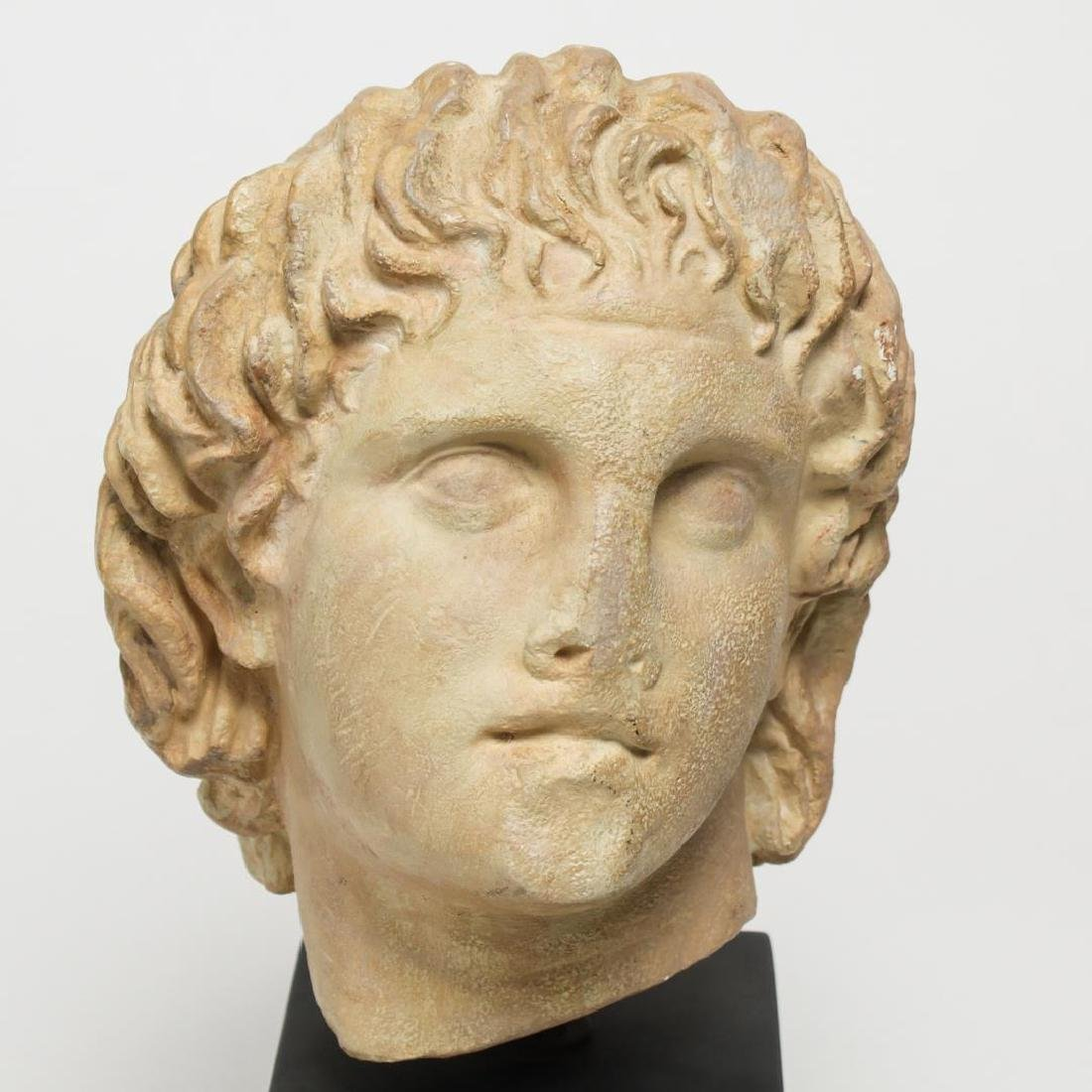 Hellenistic-Manner Cast Stone Bust, Head of Youth - 5