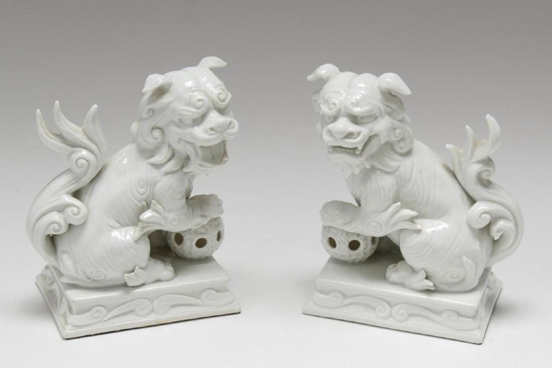 Blanc de Chine Porcelain Foo Dogs, Pair