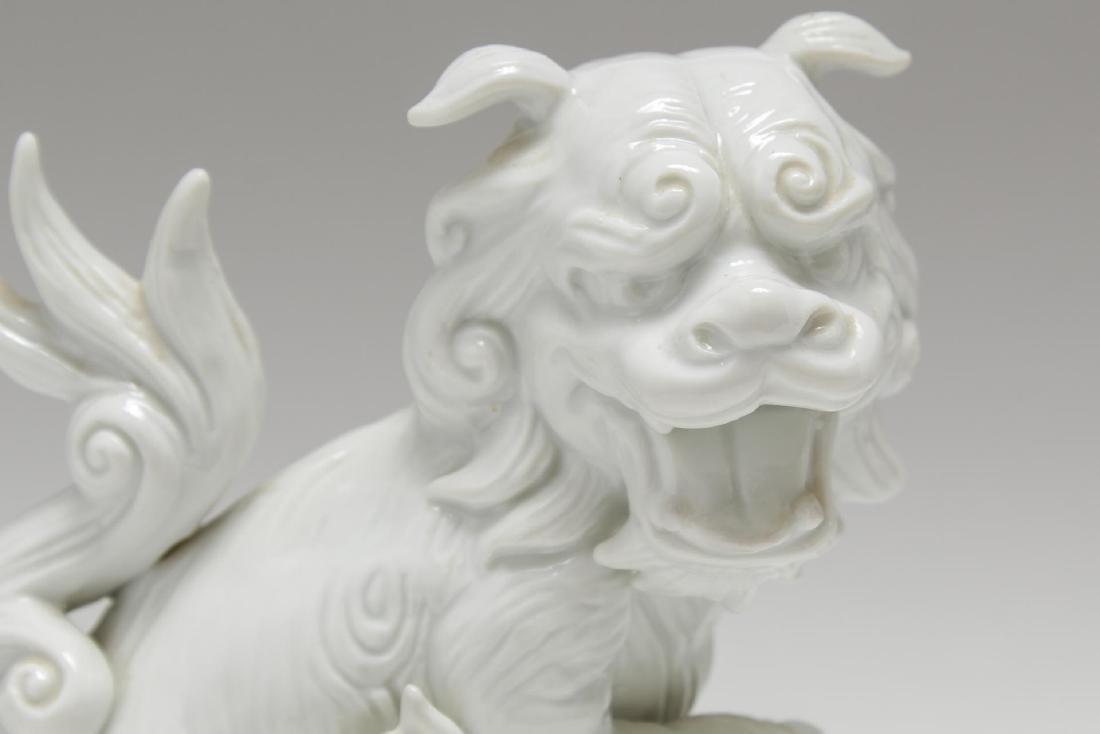 Blanc de Chine Porcelain Foo Dogs, Pair - 3