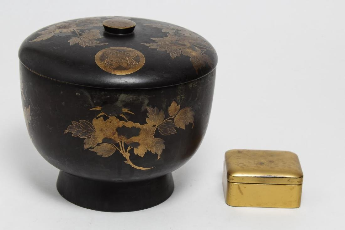 Japanese Lacquerware Covered Food Bowl & Box