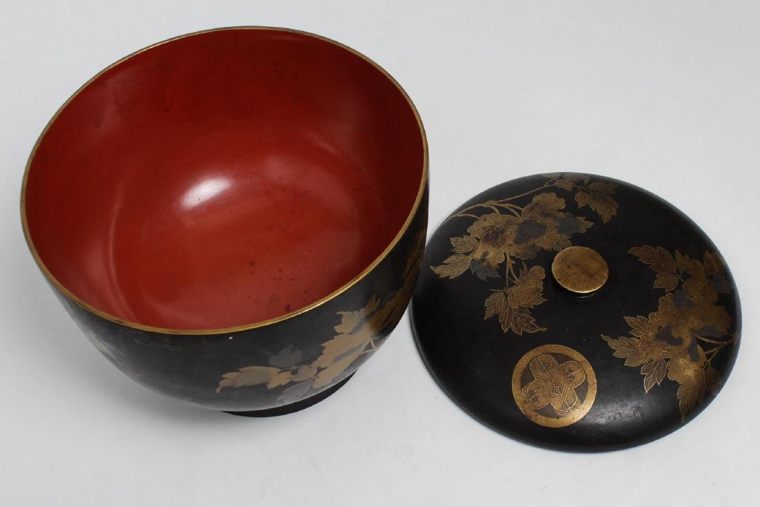 Japanese Lacquerware Covered Food Bowl & Box - 5