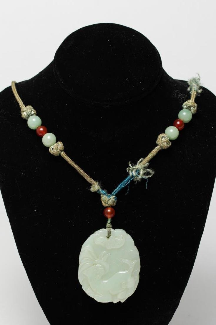 Chinese Celadon Jade Pendant Necklace, Carved