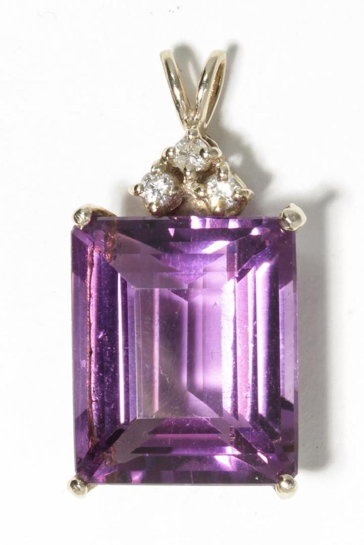Amethyst, Diamond, & 14K White Gold Pendant