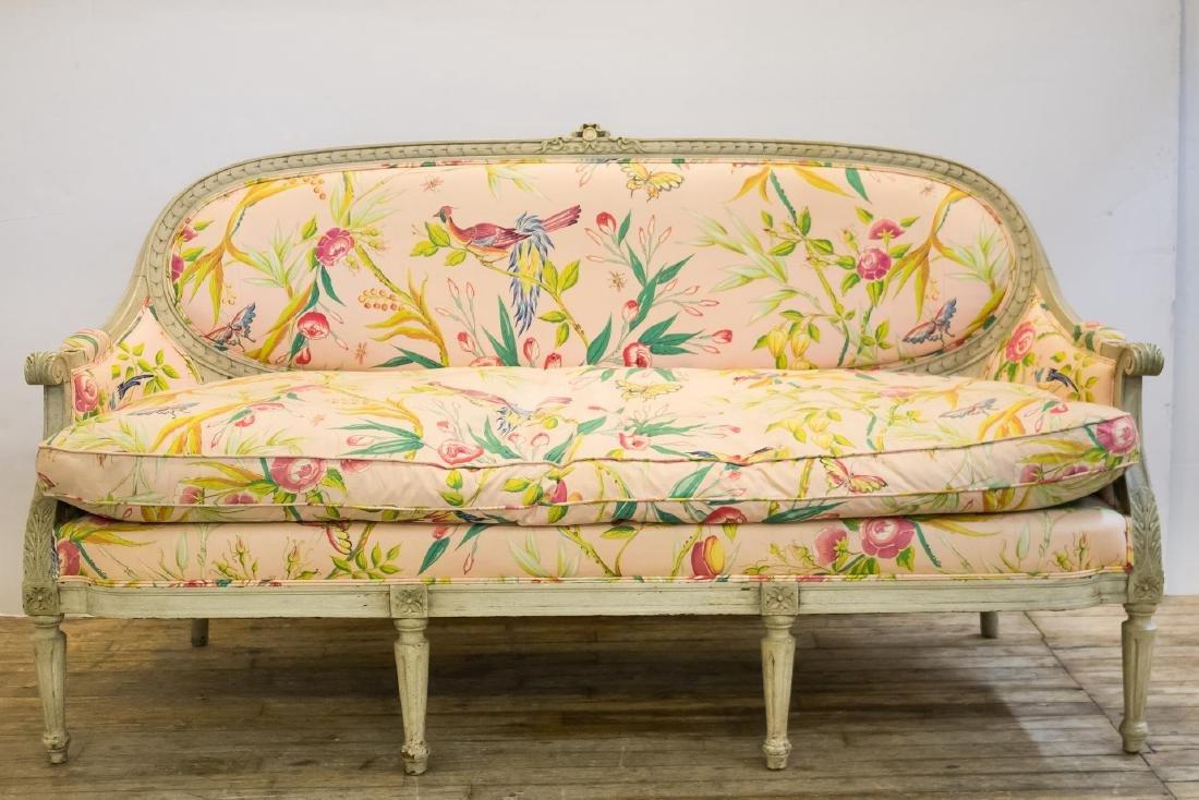Louis XV-Manner Upholstered Wood Settee