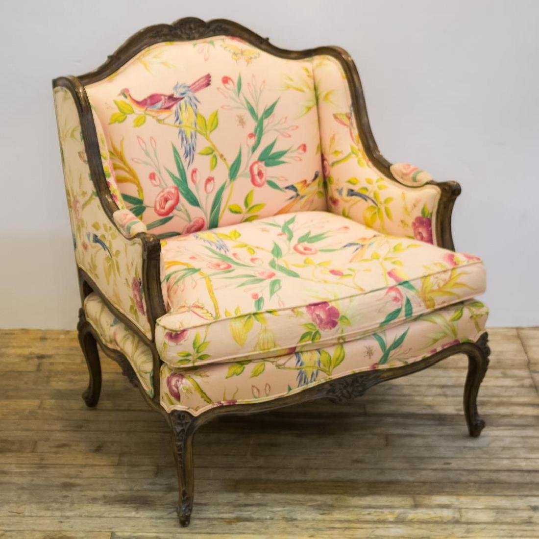 Louis XV-Manner Marquise Armchair, Upholstered Wood