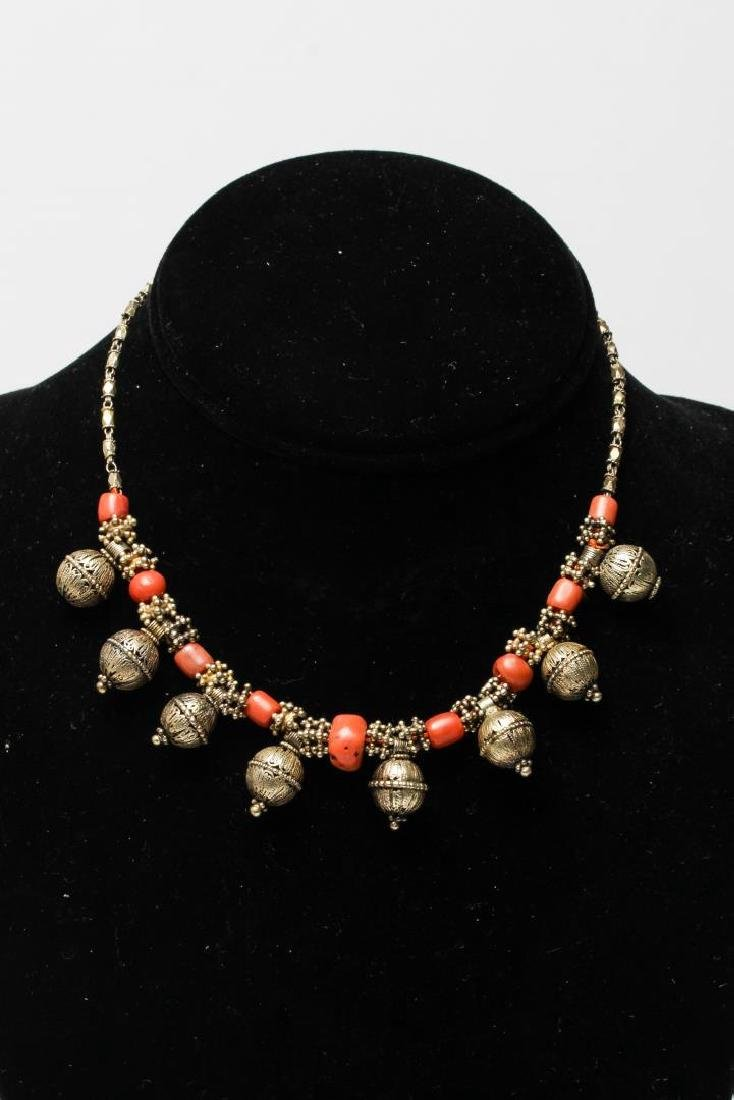Middle Eastern Silver & Coral Necklace, Tribal