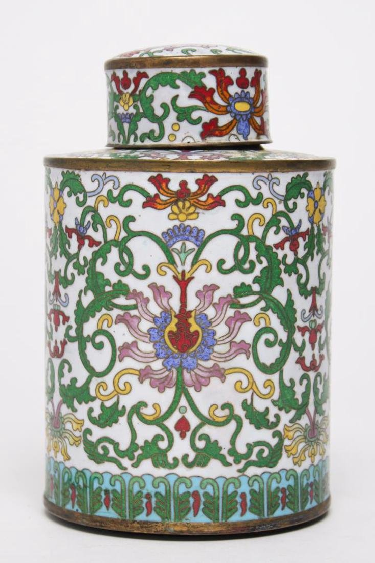 Chinese Republic Cloisonne Enamel Tea Caddy