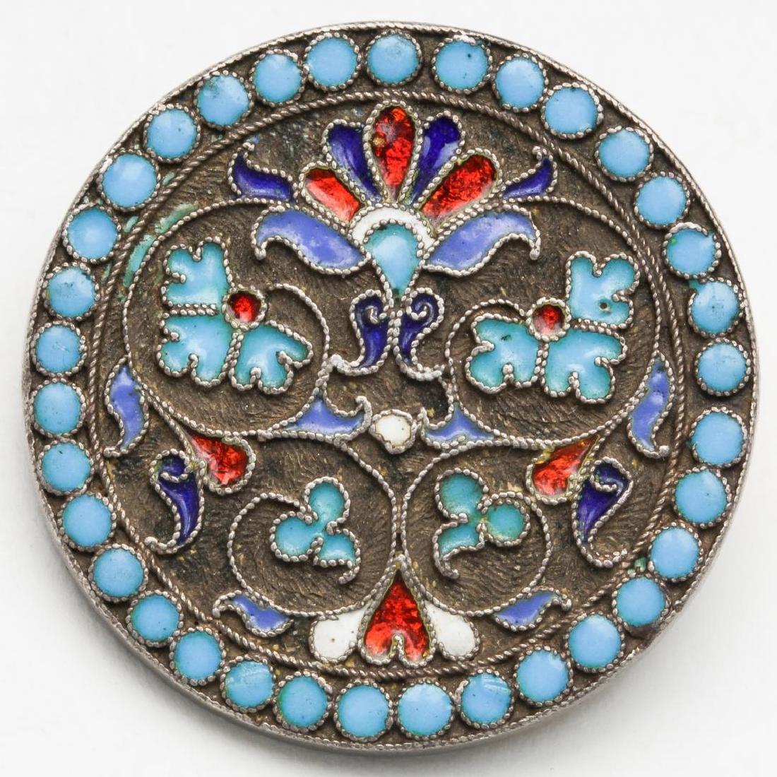 Russian Cloisonne Enameled Silver Brooch