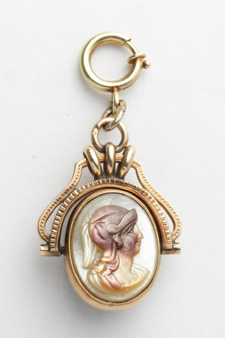 Antique Cameo, Mother of Pearl in 14K Gold Pendant
