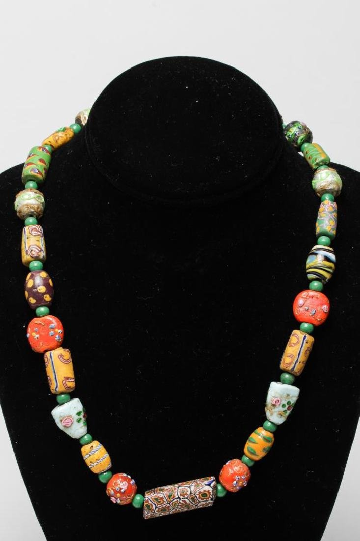 Trade Bead Necklace, Antique Glass inc. Millefiori