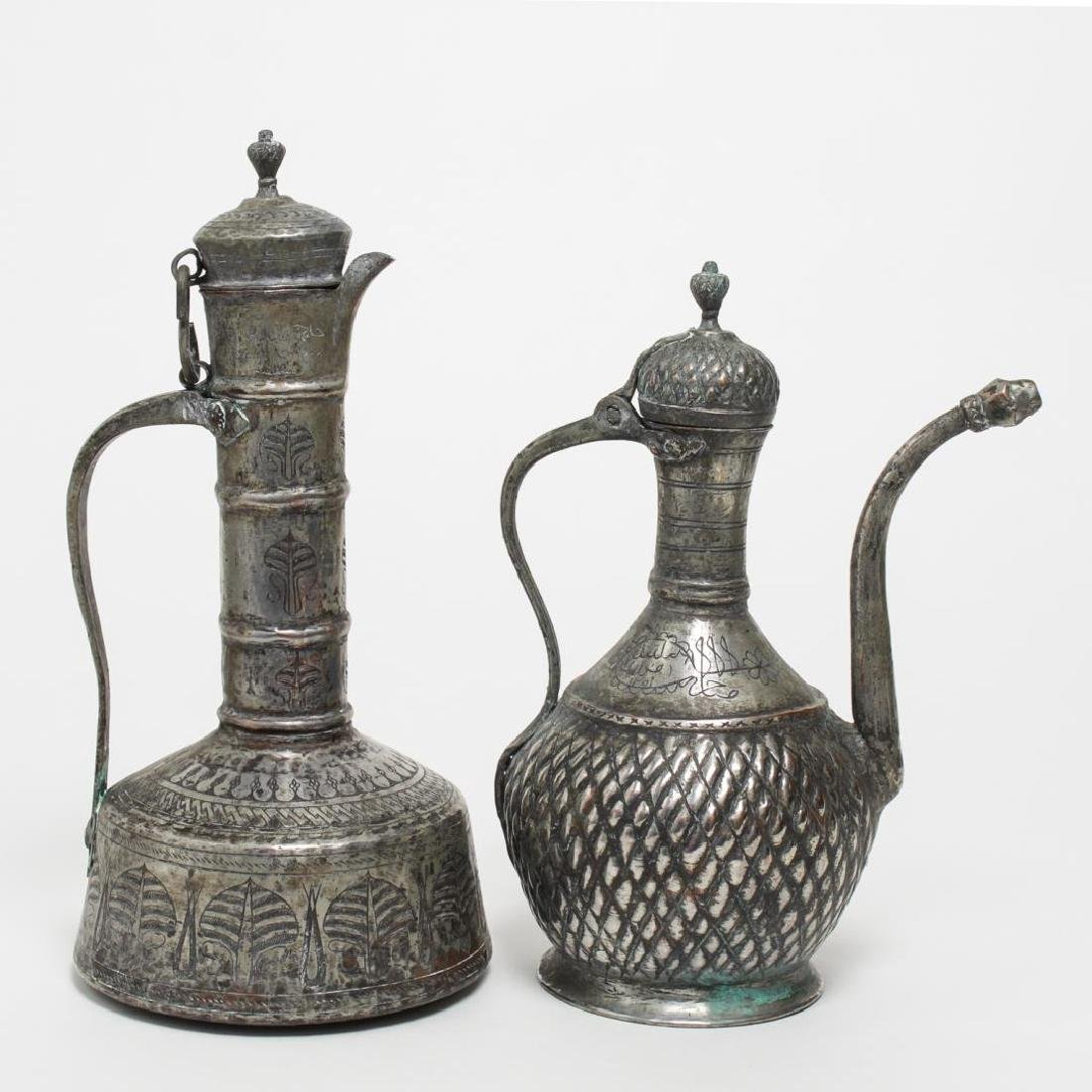 Turkish Coffee Pots, 2 Tin-Covered Brass & Copper