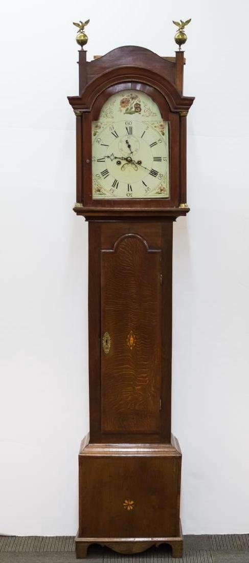 American Primitive Oak Grandfather Clock